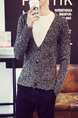 Grey Plus Size Knitted V Neck Cardigan Buttons Pockets Thread Men Cardigan for Casual