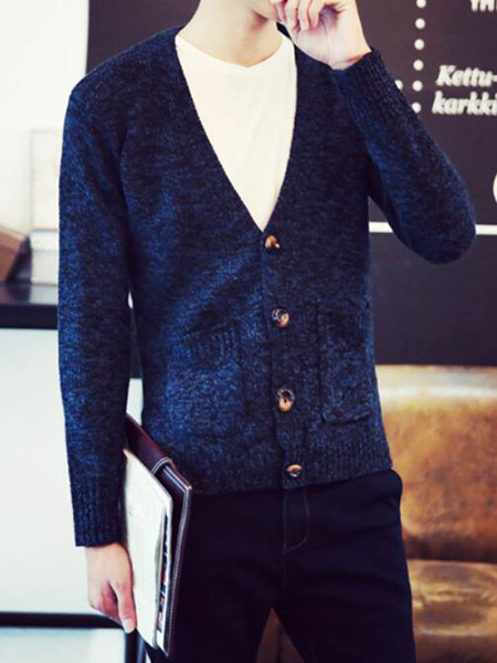 Blue Plus Size Knitted V Neck Cardigan Buttons Pockets Thread Men Cardigan for Casual
