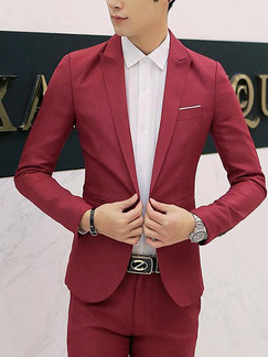 Red Plus Size Slim Tailored Neck One Button  Men Coat for Formal