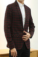 Black and Red Leisure Plus Size Grid Tailored Collar Plaid One Button Men Coat for Formal
