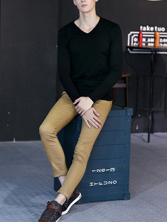 Black Knitted Slim Plus Size V Neck Hedging Men Sweater for Casual