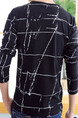 Black Plus Size Loose Round Neck Printed Men Shirt for Casual
