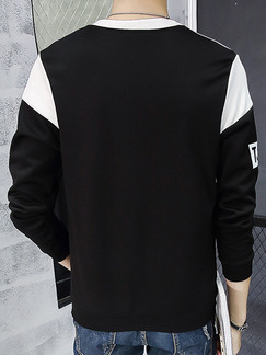 Black and White Plus Size Contrast Linking Placket Front Round Neck Letter  Men Sweater for Casual