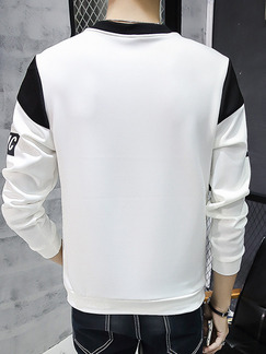 White and Black Plus Size Contrast Linking Placket Front Round Neck Letter Men Sweater for Casual