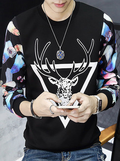 Black Colorful Plus Size Placket Front Contrast Linking Pattern Round Neck Men Sweater for Casual
