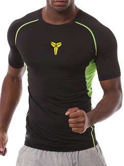 Pasabuy Black and Green Plus Size Contrast Sports Tight Quick Dry  Men Shirt for Casual Sports Fitness