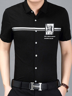 Black Plus Size Slim Located Printing Lapel Buttons Men Shirt for Casual