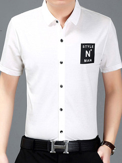 White Plus Size Slim Located Printing Lapel Buttons Men Shirt for Casual Office
