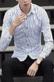 White and Black Plus Size Slim Vertical Stripe Lapel Buttons Long Sleeve Men Shirt for Casual Office
