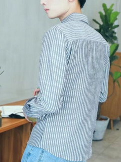 Grey and White Plus Size Slim Lapel Vertical Stripe Buttons Long Sleeve Men Shirt for Casual Office