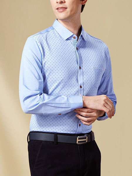 Blue Plus Size Slim Wave Point Buttons Lapel Pocket Long Sleeve Men Shirt for Casual Office