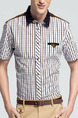 White and Brown Plus Size Slim Grid Linking Neck Lapel Buttons Men Shirt for Casual Office