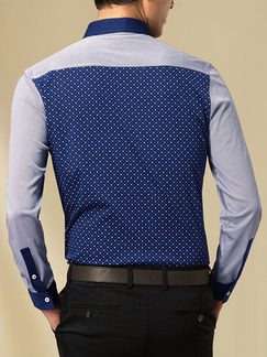 Blue and Grey Plus Size Slim Linking Wave Point Buttons Lapel Long Sleeve Men Shirt for Casual Office