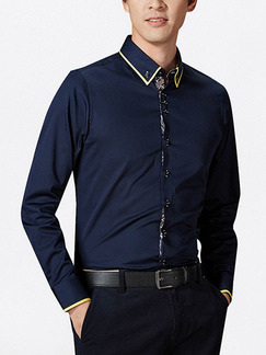Blue Plus Size Slim Contrast Linking Lapel Buttons Long Sleeve Men Shirt for Casual Office Evening