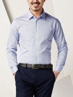 Blue Plus Size Slim Contrast Blue and White Pattern Lapel Buttons Long Sleeve Men Shirt for Casual Office