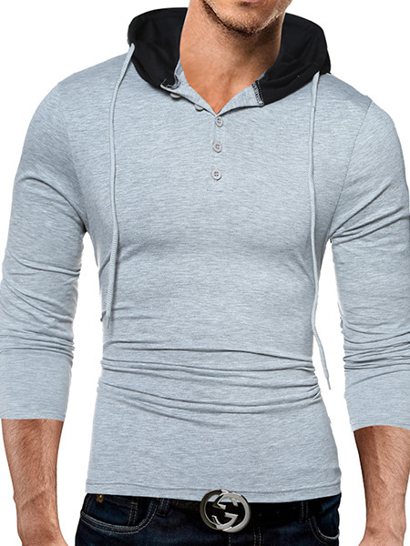 Grey and Black Plus Size Slim Hooded Drawstring Buttons Neck Long Sleeve Men Hoodie for Casual