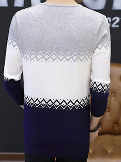 Blue White and Grey Plus Size Slim Knitting Contrast V Neck  Men Sweater for Casual