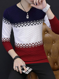 Blue White and Red Plus Size Slim Knitting Contrast V Neck Men Sweater for Casual