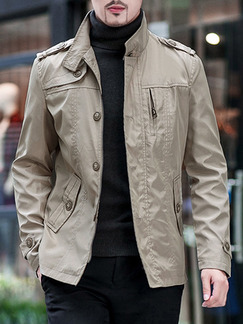 Brown Plus Size Slim Stand Collar Single-Breasted Pockets Long Sleeve Men Jacket for Casual