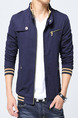 Blue Plus Size Slim Contrast Stand Collar Zipper Front Pockets Long Sleeve Men Jacket for Casual