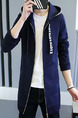 Blue Plus Size Slim Contrast Ribbon Hooded Pockets Long Sleeve Men Jacket for Casual