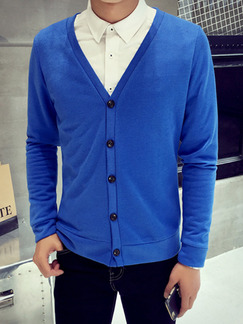 Blue Plus Size Slim Knitting V Neck Buttons Long Sleeve Men Cardigan for Casual