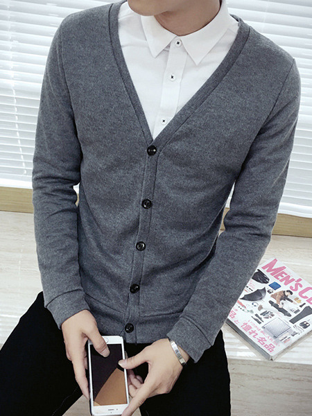 Grey Plus Size Slim Knitting V Neck Buttons Long Sleeve Men Cardigan for Casual