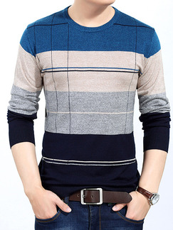 Blue Beige and Grey Plus Size Slim Knitting Contrast Round Neck Long Sleeve Men Sweater for Casual