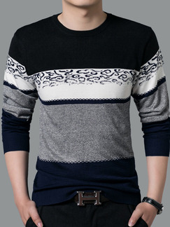Blue Grey and White Plus Size Slim Knitting Contrast Round Neck  Men Sweater for Casual
