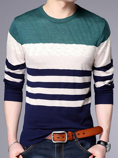 Blue White and Green Plus Size Slim Knitting Contrast Round Neck Long Sleeve Men Sweater for Casual