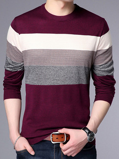 Red Grey and White Plus Size Slim Knitting Contrast Round Neck Long Sleeve Men Sweater for Casual