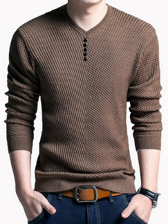 Brown Plus Size Slim Knitting Buttons V Neck Long Sleeve Men Sweater for Casual