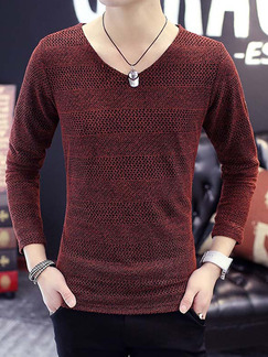 Red Plus Size Slim V Neck Long Sleeve Men Shirt for Casual