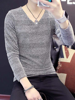 Grey Plus Size Slim V Neck Long Sleeve Men Shirt for Casual