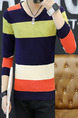 Colorful Plus Size Slim Knitting Contrast Stripe V Neck Long Sleeve Men Sweater for Casual