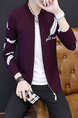 Red Plus Size Slim Knitting Stand Collar Located Printing Zipper Front Long Sleeve Men Cardigan for Casual