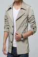 Beige Plus Size Slim Lapel Buttons Pockets Long Sleeve Men Jacket for Casual