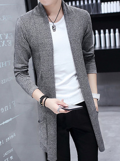 Grey Plus Size Slim Long Knitting Lapel Long Sleeve Men Cardigan for Casual