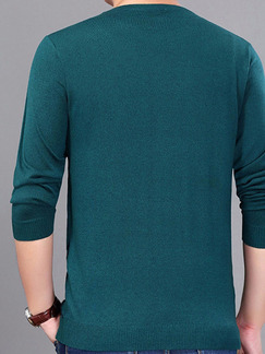 Green Plus Size Slim Printed Round Neck Long Sleeve Men Sweater for Casual