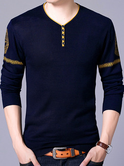 Blue Plus Size Slim Knitting Contrast V Neck Located Printing Long Sleeve Men Sweater for Casual