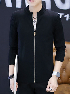 Black Plus Size Slim Knitting Stand Collar Zipper Front Long Sleeve Men Cardigan for Casual