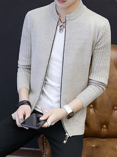 Grey Plus Size Slim Knitting Stand Collar Zipper Front Long Sleeve Men Cardigan for Casual