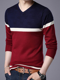 Red White and Blue Plus Size Slim Contrast V Neck Long Sleeve Men Sweater for Casual