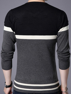 Black White and Grey Plus Size Slim Contrast V Neck Long Sleeve Men Sweater for Casual