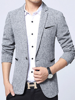 Grey Plus Size Slim Lapel Pockets Button Furcal Back Long Sleeve Men Suit for Office Party Evening