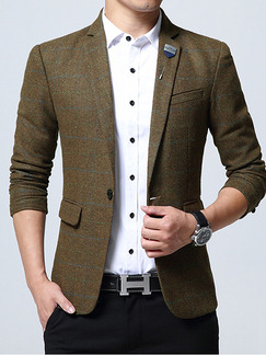 Brown Plus Size Slim Contrast Grid Lapel Pockets Furcal Back Long Sleeve Men Suit for Office Party Evening