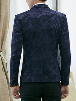 Blue Plus Size Slim Camouflage Lapel Pockets Button Long Sleeve Men Suit for Evening Office Party