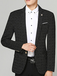 Black Plus Size Slim Lapel Pockets Button Long Sleeve Men Suit for Evening Office Party