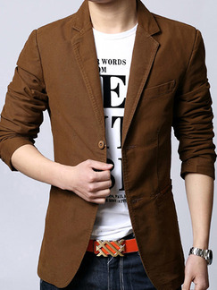 Brown Plus Size Slim Lapel Pockets Button Long Sleeve Men Suit for Evening Office Party