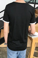Black Plus Size Slim Round Neck Letter Printed Short Men Shirt for Casual